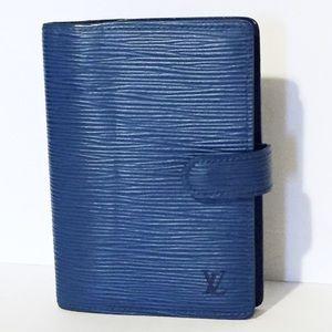 Louis Vuitton blue epi leather agenda planner